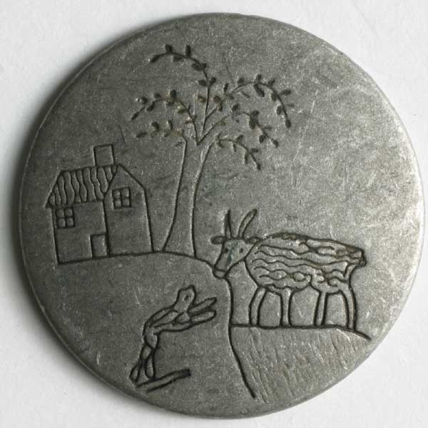 Metallinappi 20 mm antiikkitina