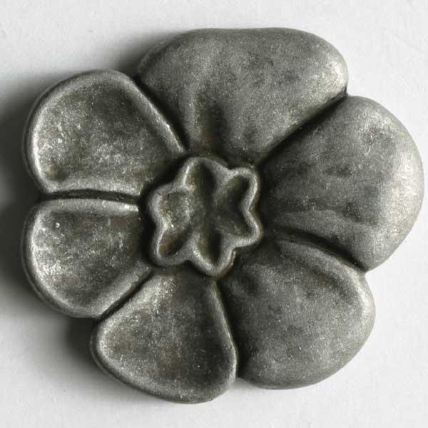 Metallinen kantanappi kukka 18 mm antiikkitina