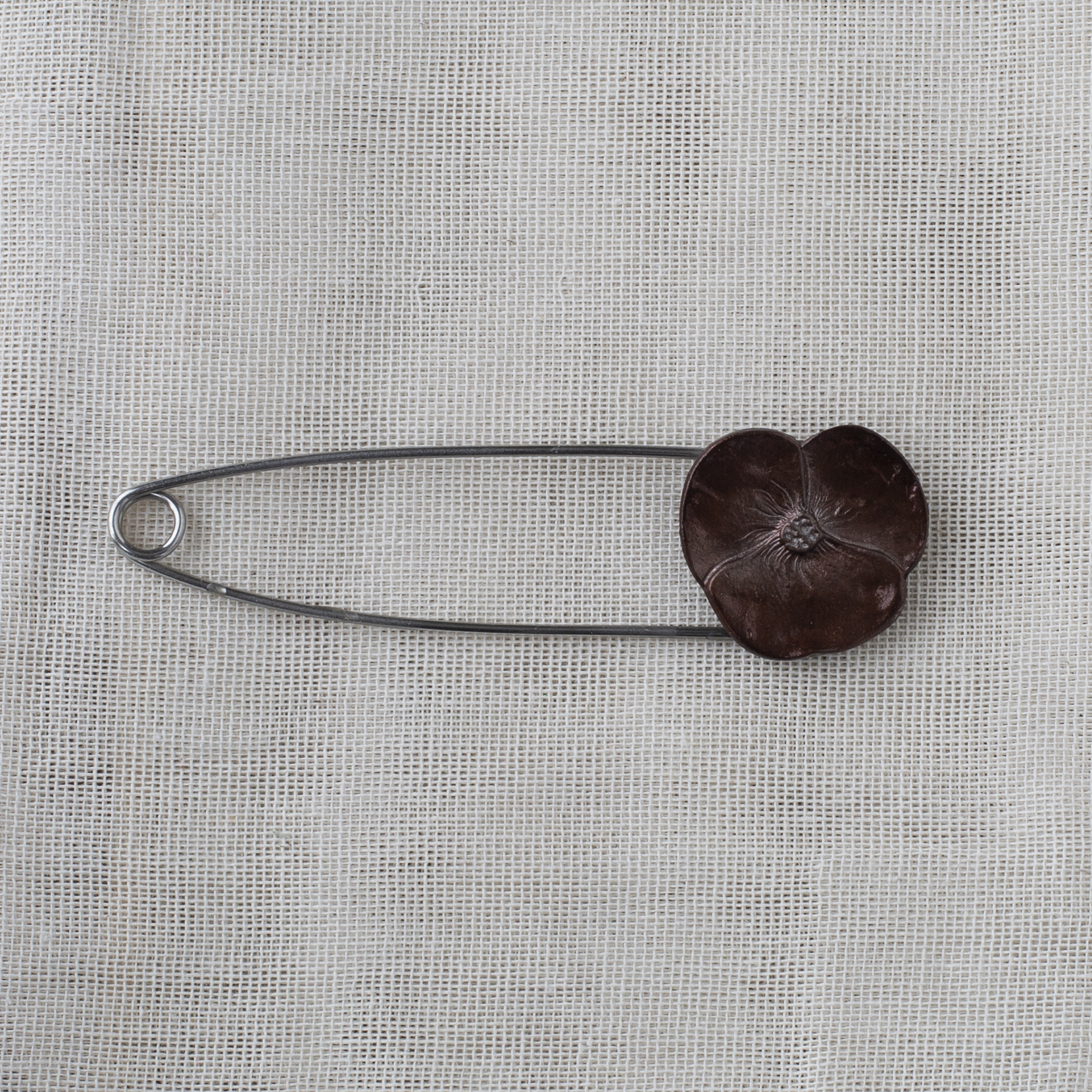 Metal Flower Brooch 9.1cm - 11 brown