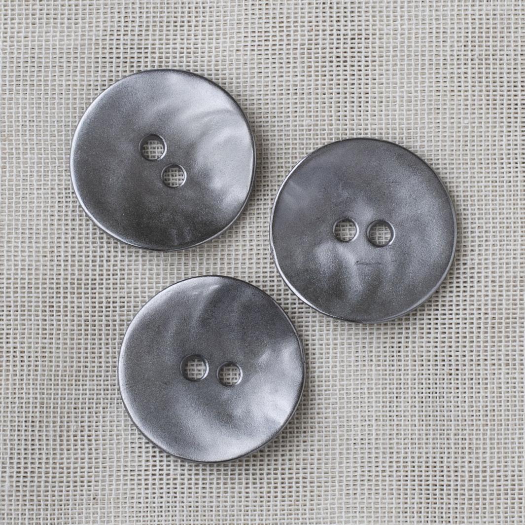 Round Metal Button 28mm - 02 Silver