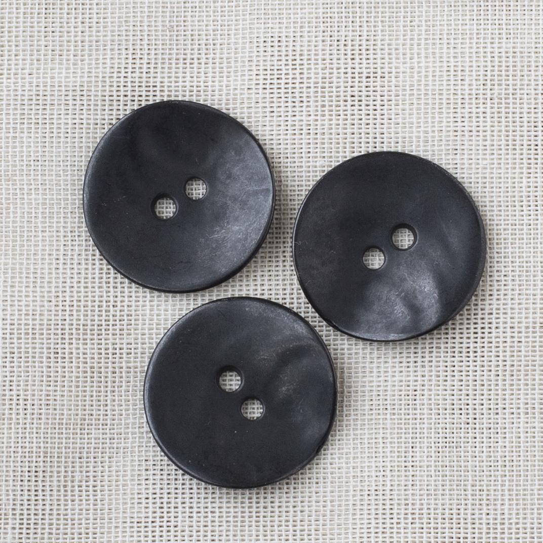 Round Metal Button 28mm - 01 Matt Black