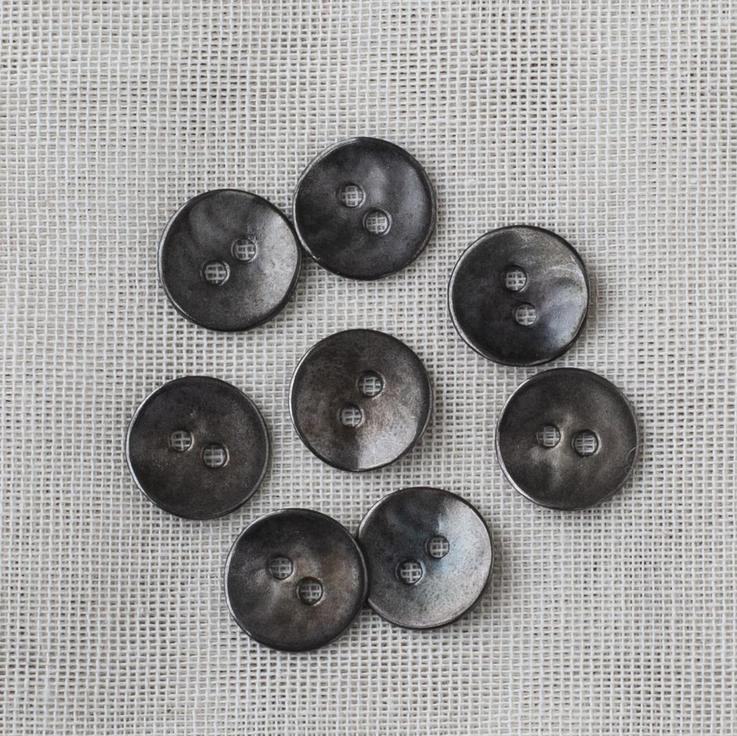 Round Metal Button 15mm - 02 Silver