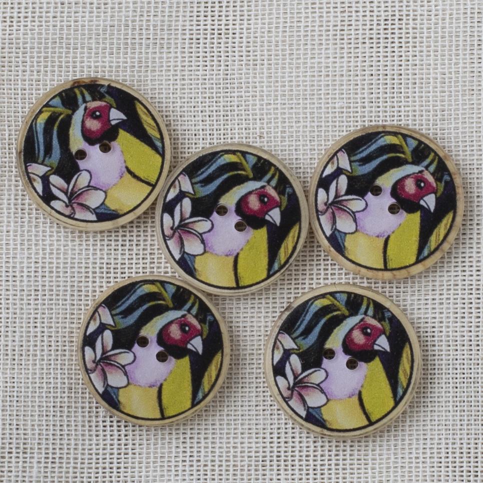 Coconut Button 22mm Multicolor bird