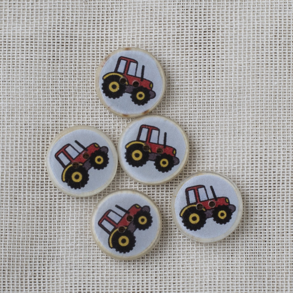 Coconut Resin Button 16mm Red Tractor