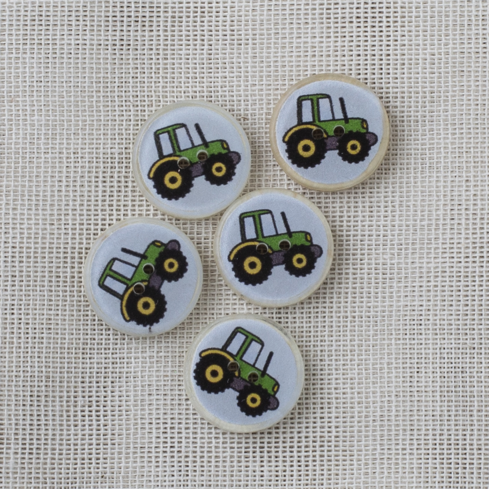 Coconut Resin Button 16mm Green Tractor