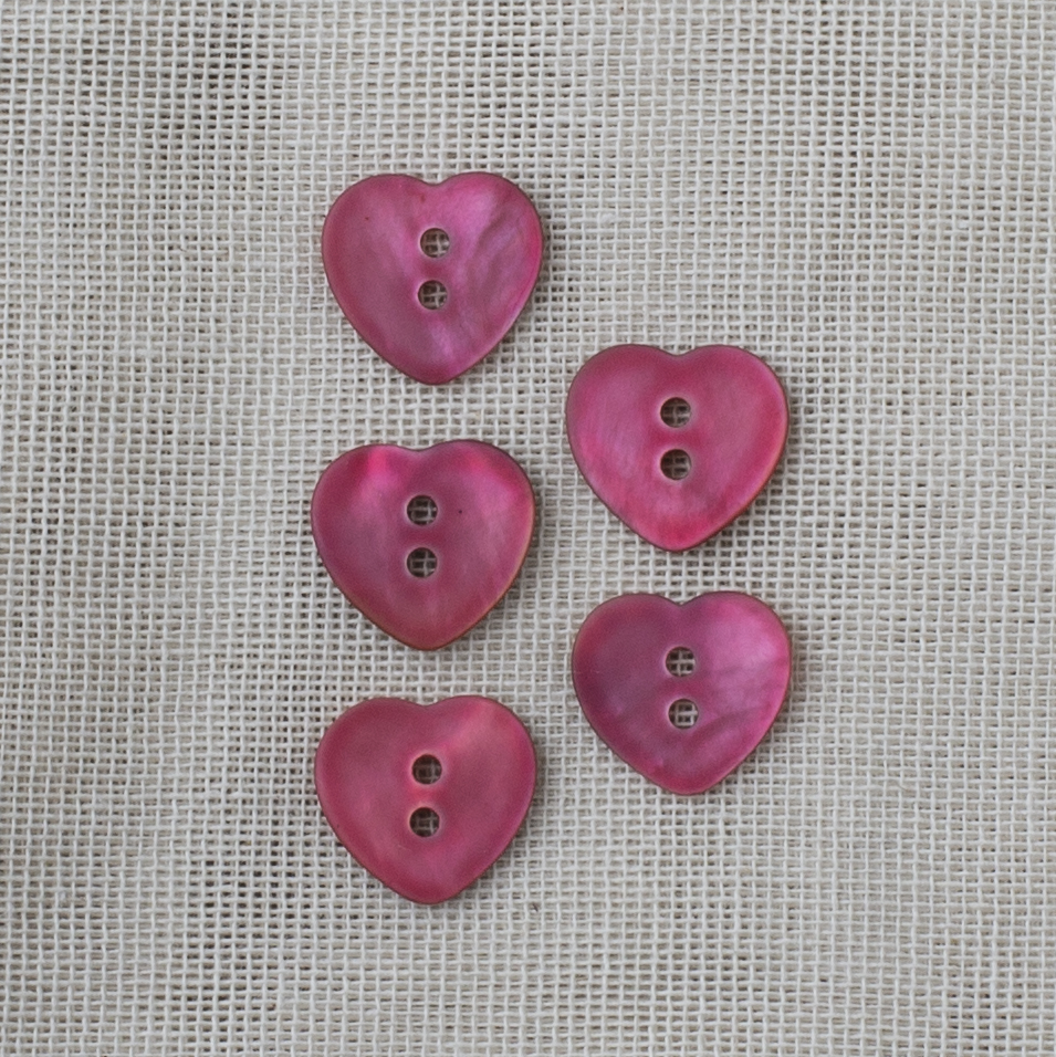 Agoya Pearl Button Heart 15mm 04 pink