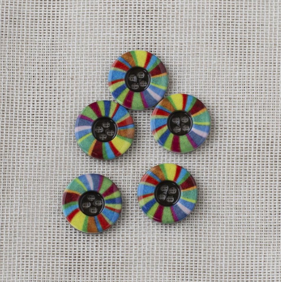 Muovinappi Pyöreä 15 mm kirjava raita