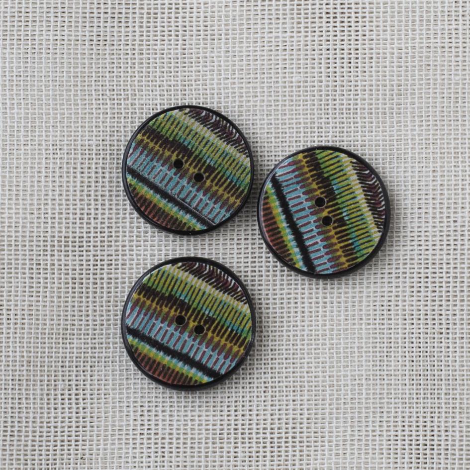 Resin Button Round Stripe 20mm 01 Blue-Green