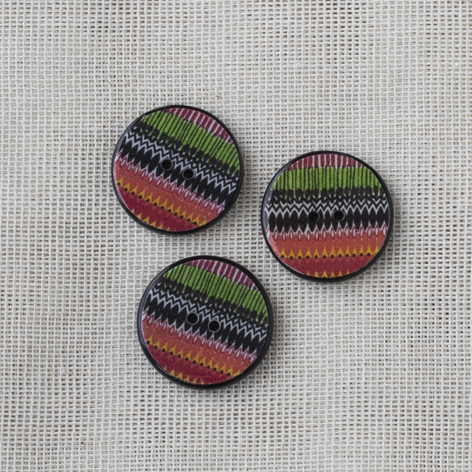 Resin Button Round Stripe 20mm 03 Red-Green