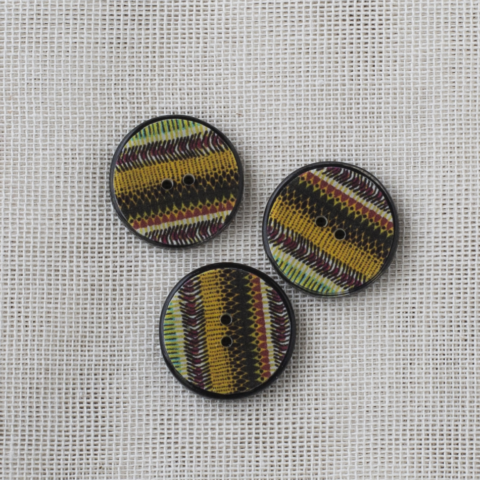 Resin Button Round Stripe 20mm 02 Yellow-brown