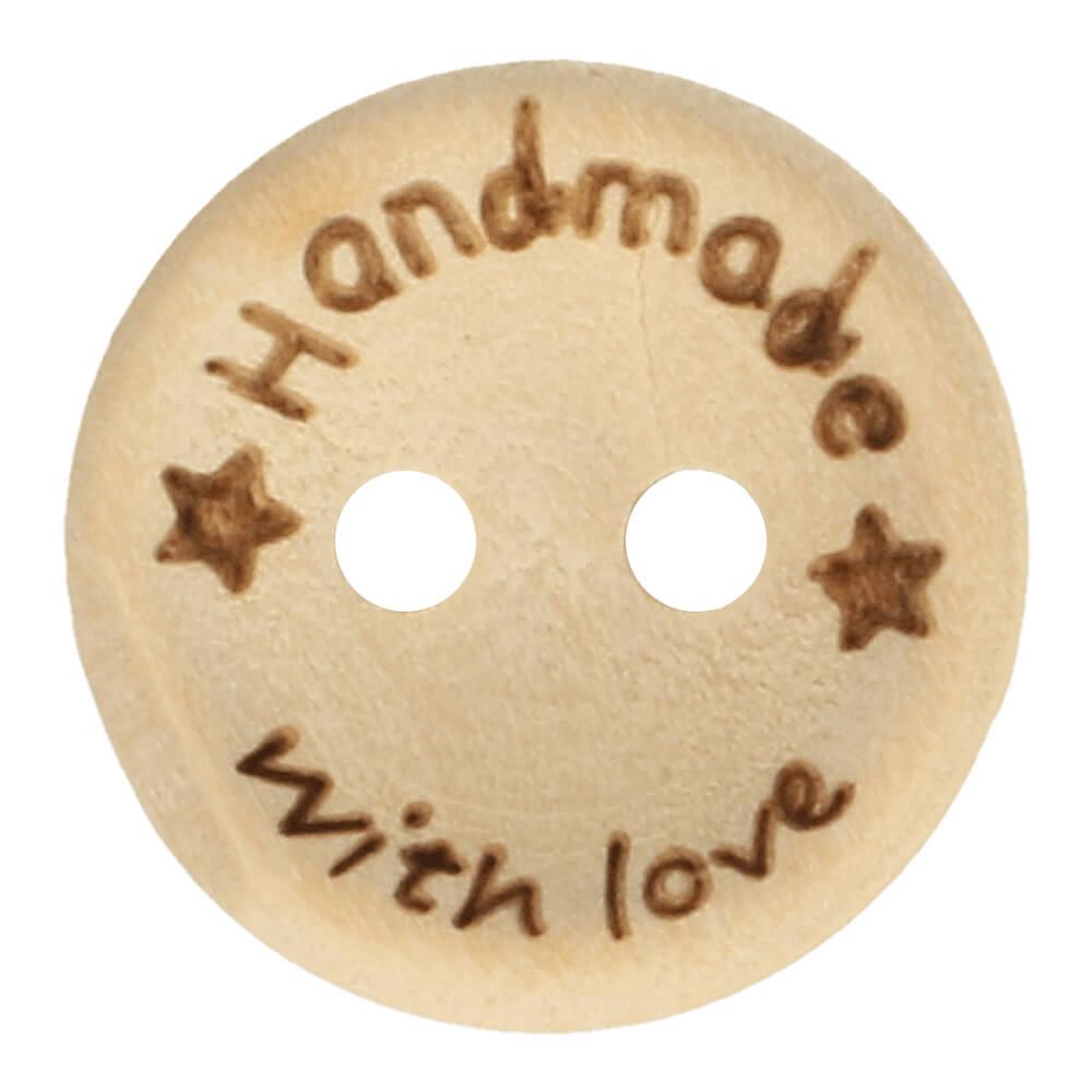 "Puunappi ""Handmade with love"" 15 mm"