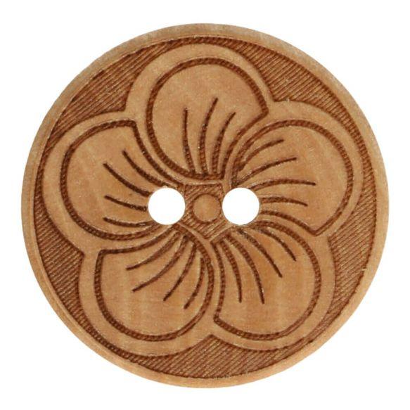 Pyöreä puunappi kukka 25 mm