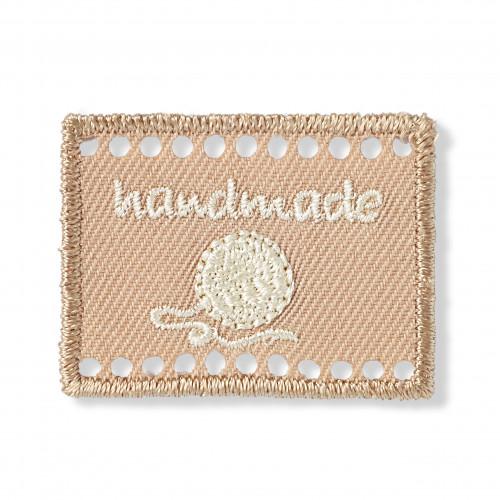 Handmade-merkki kangas beige 40x30 mm