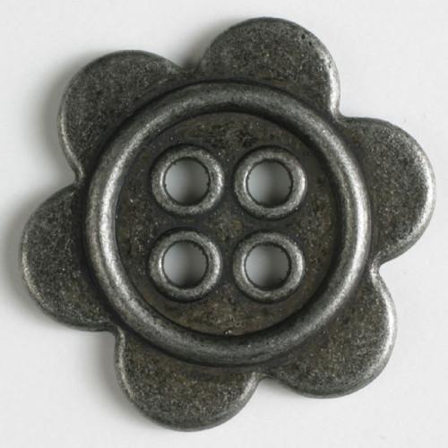 Metallinappi 4 reikää 28mm antiikkitina - Art.-Nr.: 370641