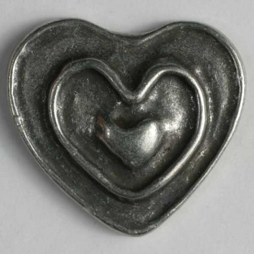 Metallinen kantanappi sydän 28 mm antiikkitina