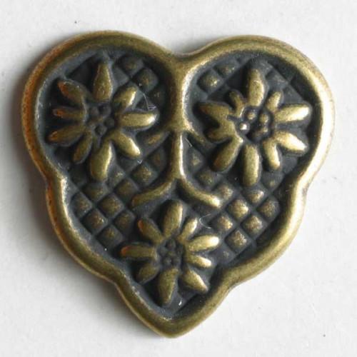 Metallinen kantanappi kukkakolmio 18 mm antiikkitina