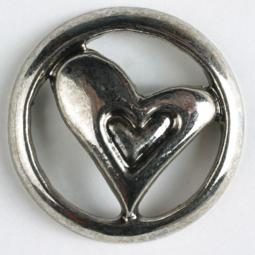 Metallinappi sydän 18 mm antiikkihopea - Art.-Nr.: 290354