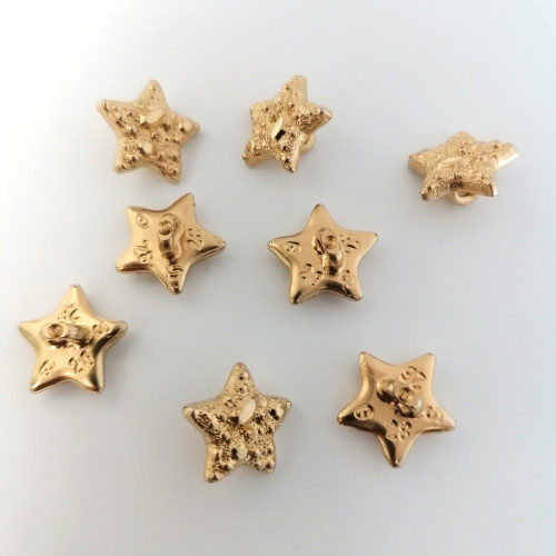 Plastic button star 14 mm gold-plated
