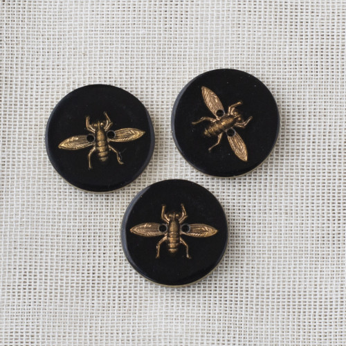 Resin Button Fly 22mm - 01 Black