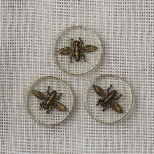 Resin Button Fly 22mm - 02 Transparent