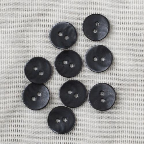 Round Metal Button 15mm - 01 Matt Black