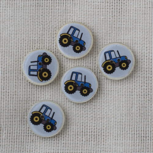 Coconut Resin Button 16mm Blue Tractor