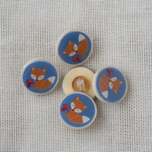 Coconut Resin Button with Shank 22mm Fox Blue