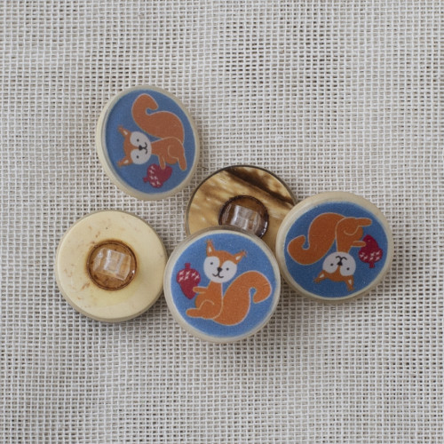 Coconut Resin Button with Shank 22mm Squirrel Blue