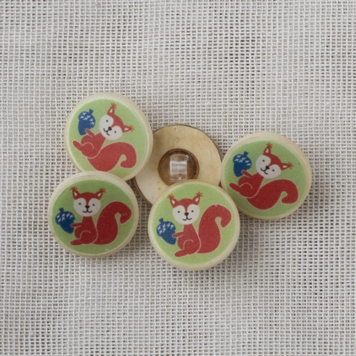 Coconut Resin Button with Shank 22mm Squirrel Green