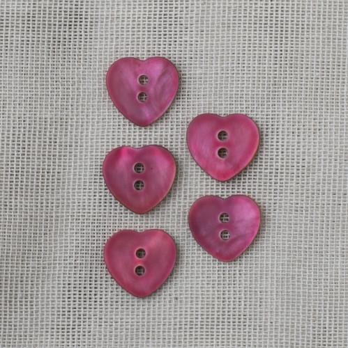 Agoya Helmiäisnappi Sydän 15mm - 04 Pinkki