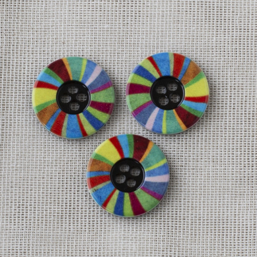 Polyester Button Round 22mm Colorful Stripes