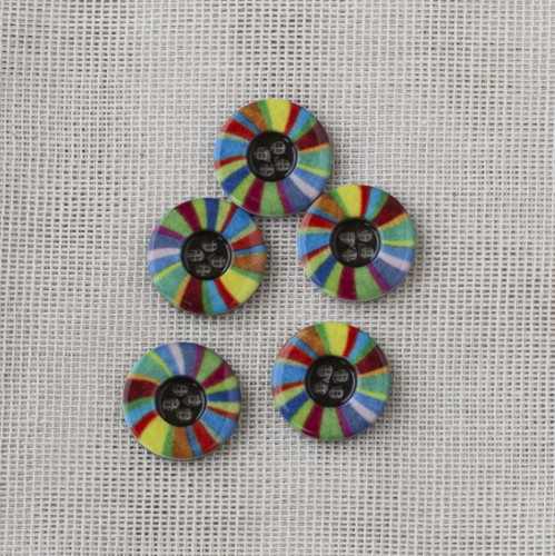Polyester Button Round 15mm Colorful Stripes