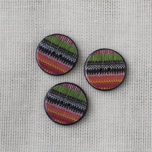 Resin Button Round Stripe 20mm 03 Red-Green