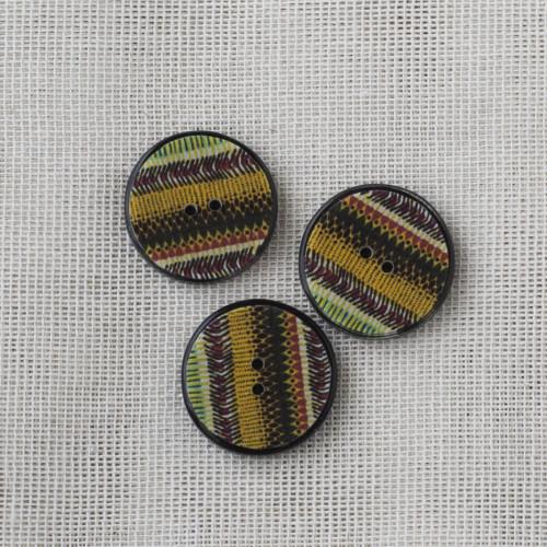 Resin Button Round Stripe 20mm 02 Yellow-brown