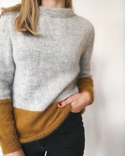 Contrast Sweater by PetiteKnit -neuleohje EN