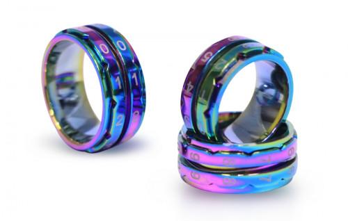 Knit Pro Row Counter Ring Rainbow -kerroslaskurisormus koko 7 (halk. 17,3 mm)