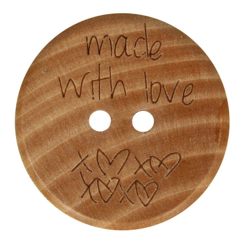 Wooden Button Made With Love, Size 32 -20 mm