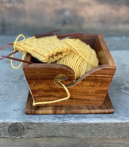 Blockwallah Small Wooden Square Yarn Bowl