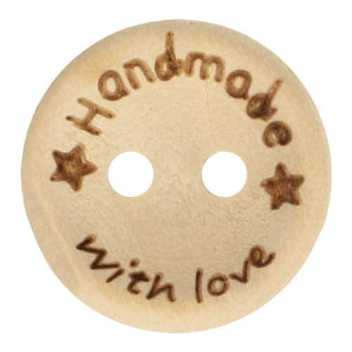 "Puunappi ""Handmade with love"" 15 mm"
