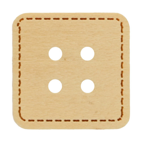 Wood button square with stitching 12 mm
