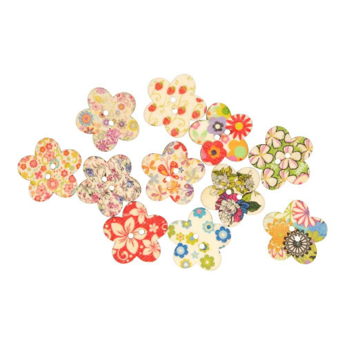 Wood button colorful flower 25 mm