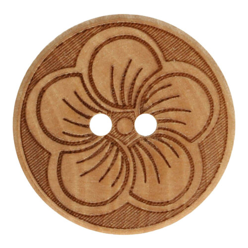 Wood button round flower 20 mm