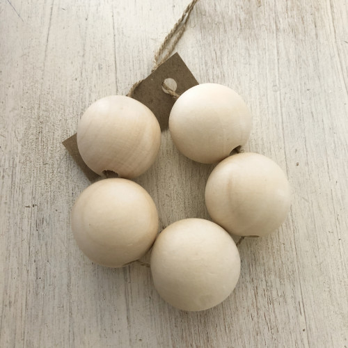 Wooden Beads 5 pcs - 30 mm