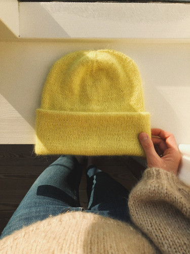 The Oslo Hat Mohair Edition Pattern and Yarns Limelight