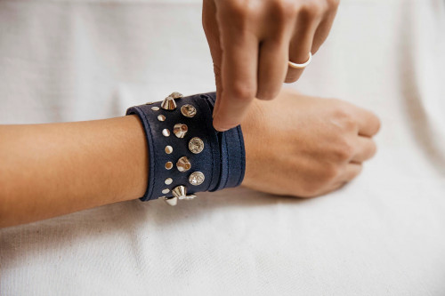Joji & Co. Bejeweled Notions Cuff Blue (size 2)