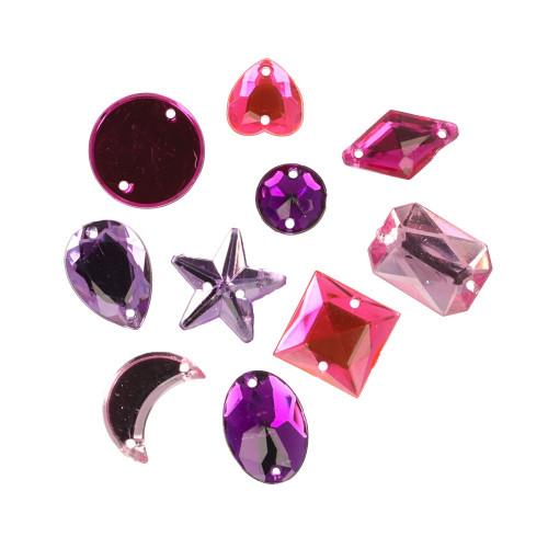 Rhinestone pink assortment, random shapes