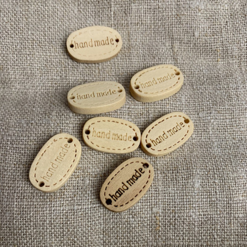 Wooden tag Handmade 20mm oval 0453183