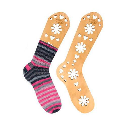 Opry sock blocker pair, brown wood, size M