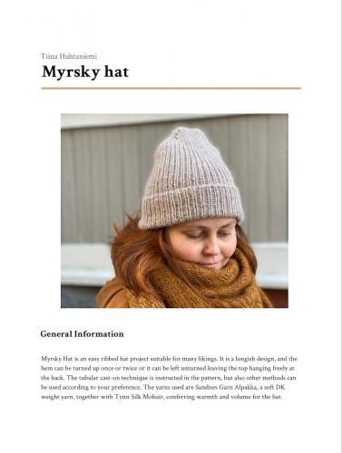 Myrsky-myssy neuleohje PDF englanti