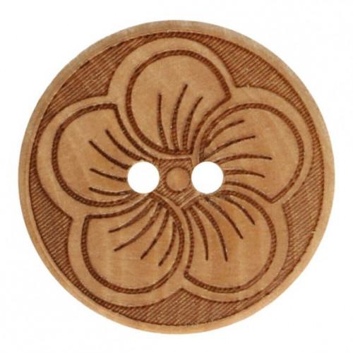 Wood button round flower 25mm